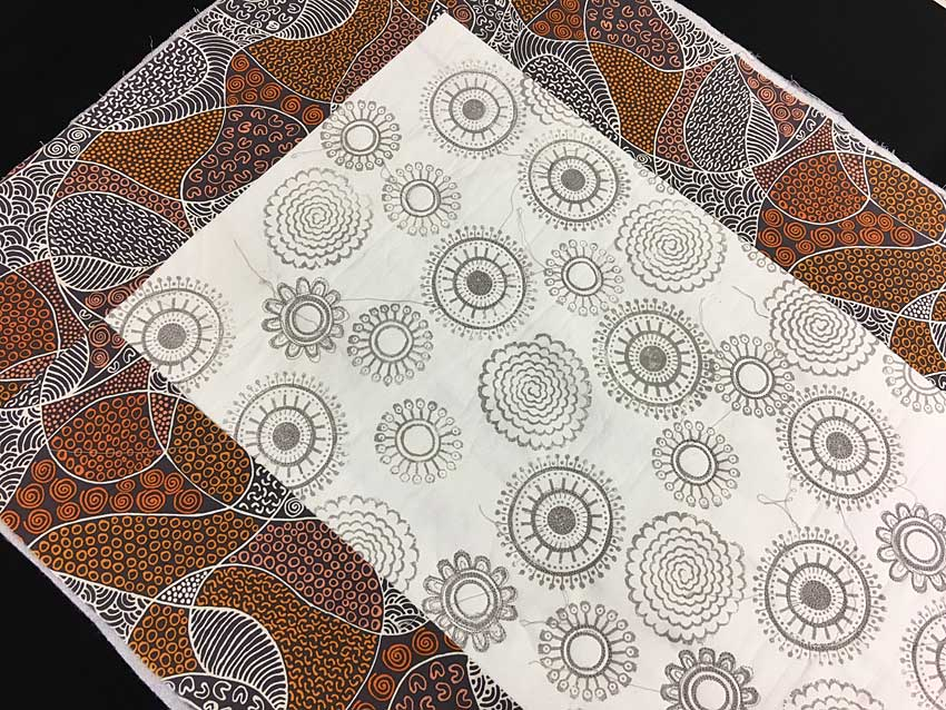 Block printed center bordered with Australian fabric