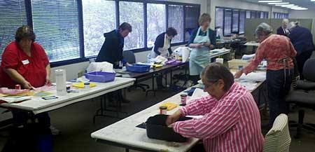 Susan Price and Elizabeth Gibson of PG Fiber2Art teach Thermofax printing at Artistic Artifacts on April 25, 2015