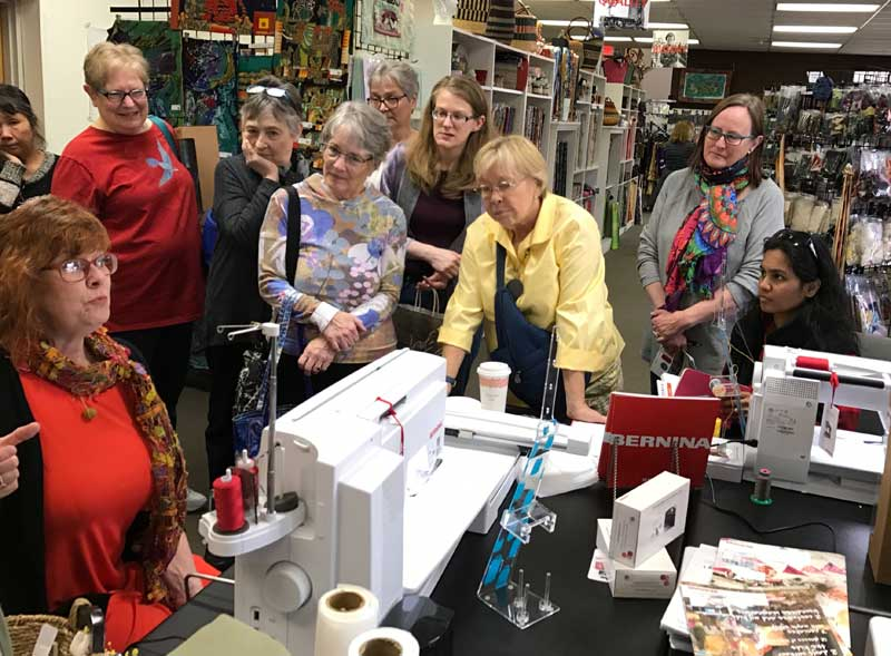 Kay Kapps Cross demonstrates WonderFil Specialty Threads in the Artistic Artifacts BERNINA sewing machine studio