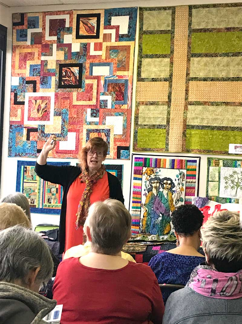 Kay Kapps Cross conducting her WonderFil Specialty Threads Show & Tell at Artistic Artifacts