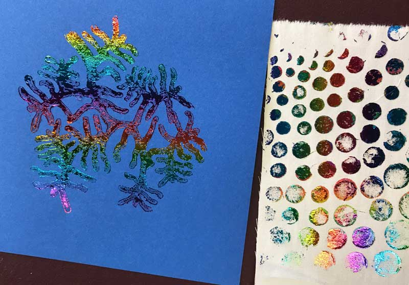 Our tree coral wooden printing block and a bubble stencil foil examples