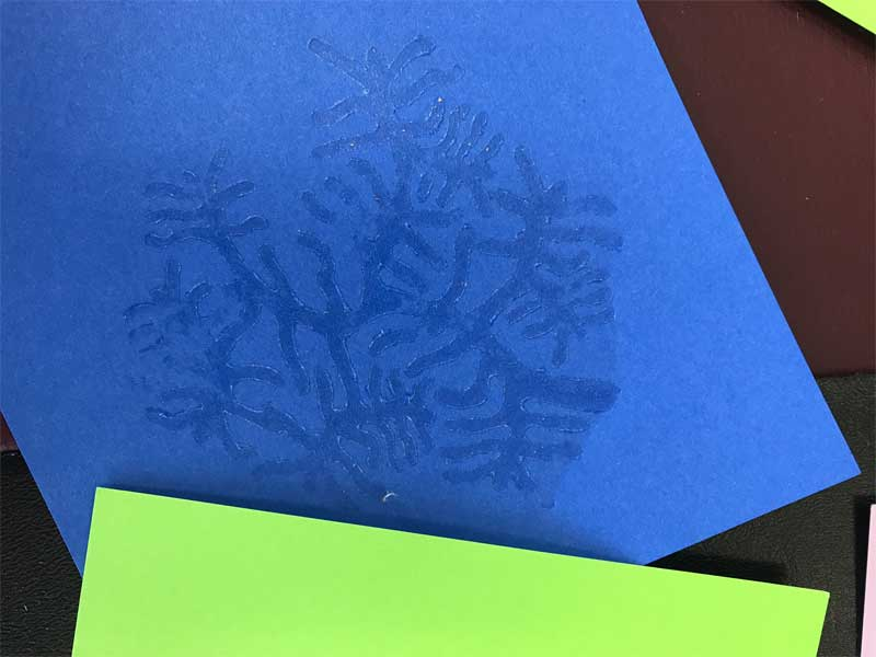 Our tree coral wooden printing block used to apply transfer gel to paper