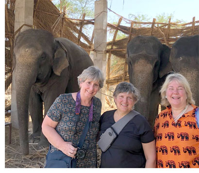 Judy Gula, Linda Snow and Libby Fritsche in India, March 2020