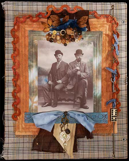 Two Men on a Bench art quilt by Judy Gula -- click for large view