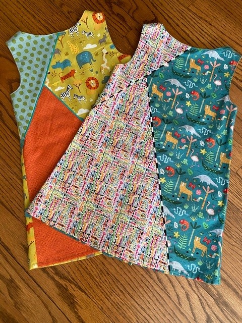 Completed dresses sewn from the Geo Dress, Tunic & Leggings pattern