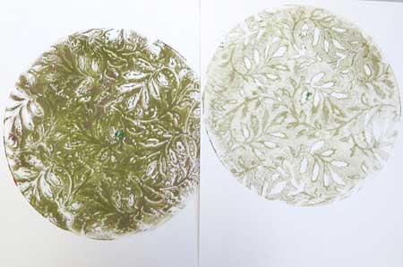 Two versions of a stenciled monoprint