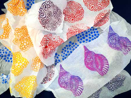 Various block printed tissue papers