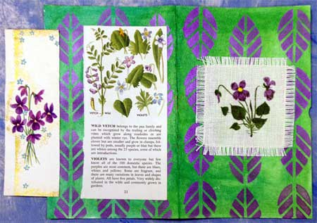 Art journal page by Judy Gula with violet  vintage ephemera