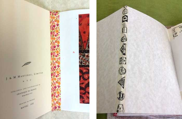 Washi tape covers stitching and creates foldout page