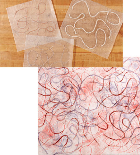 Encasing string in wax paper to create a printing plate