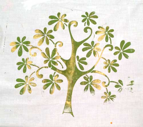 Stenciled tree by Judy Gula