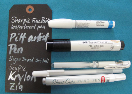 Comparing opaque white pens