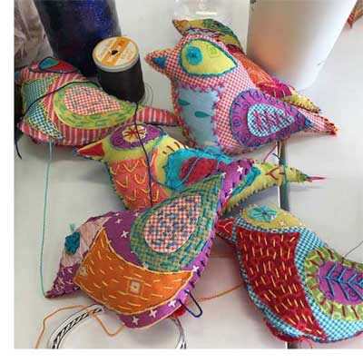 Felt and fabric birds embellished with hand stitching using WonderFil Specialty Threads