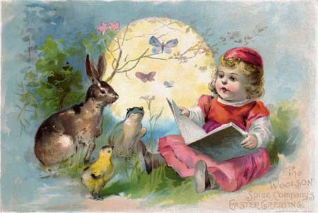 The Woolson's Spice Company's Easter Greeting trade advertising card — click for full size download