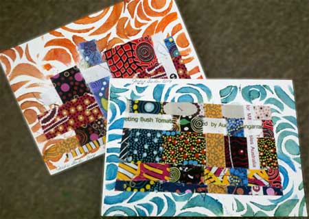 Finished woven fabric strip collaged cards by Judy Gula of Artistic Artifacts
