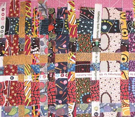 In progress woven fabric strips