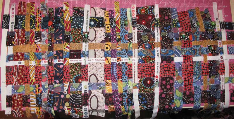 The result from weaving together fabric strips