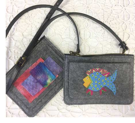 Completed Zipper Purses customized from Aster & Anne kits