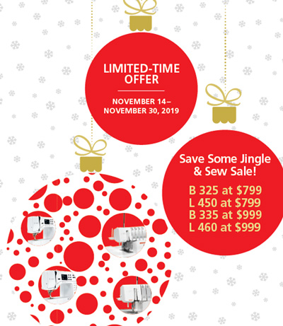Save Some Jingle & Sew Sale November 14-30, 2019