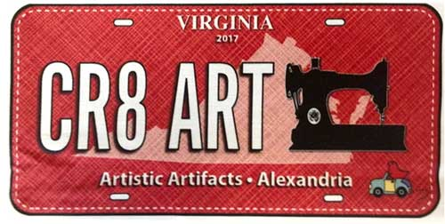 CR8 ART, the 2017 fabric license plate for Artistic Artifacts
