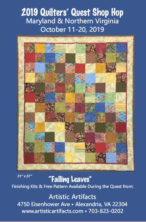 The 2019 Quilters' Quest free quilt pattern from Artistic Artifacts