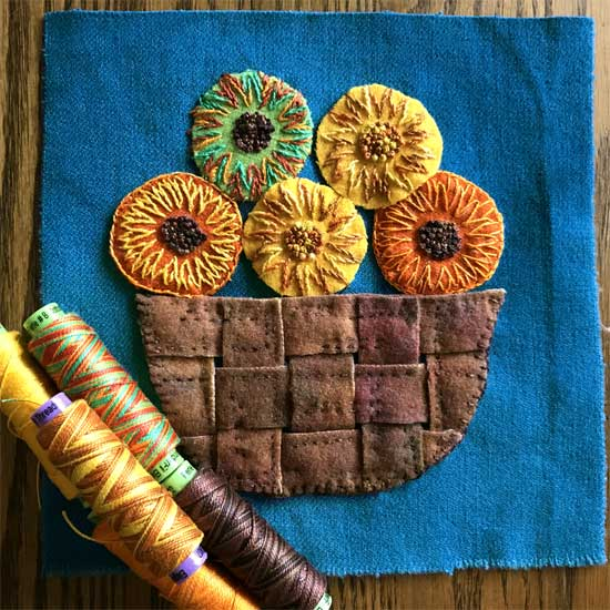 The 2017 Harvest Basket block by Artistic Artifacts for The Wooly Block Adventure