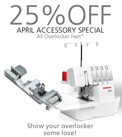Show your overlocker some love with new presser feet, available April 2019 for 25% off!