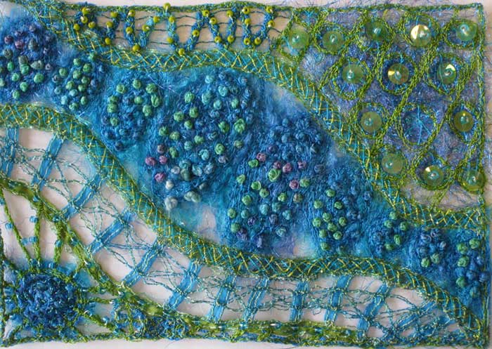 Stitch Dancing example by Liz Kettle, free motion sewing machine and simple hand embroidery stitching
