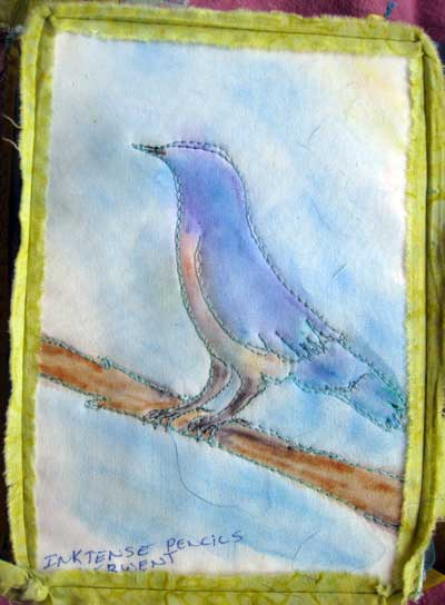 Thread sketch colored with Inktense Watersoluble Ink Pencils by Liz Kettle