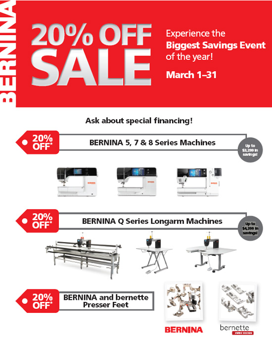 BERNINA 20% off Savings event March 2021