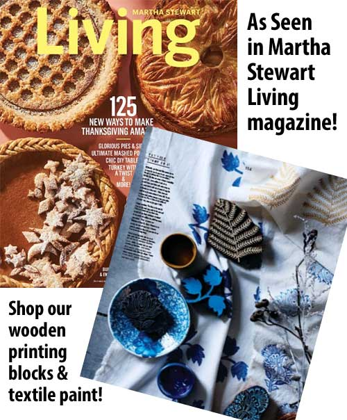 Click for Artistic Artifacts wooden printing blocks as seen in Martha Stewart Living!