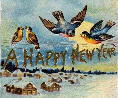 Vintage New Year postcard -- click to download hi-res verion