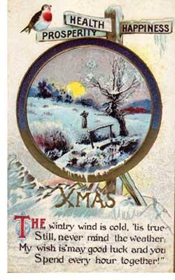 Vintage Christmas postcard -- click to download hi-res verion