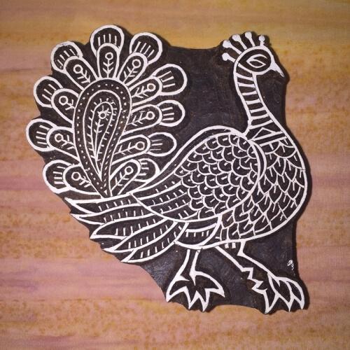 Wb221 Peacock Wood Block