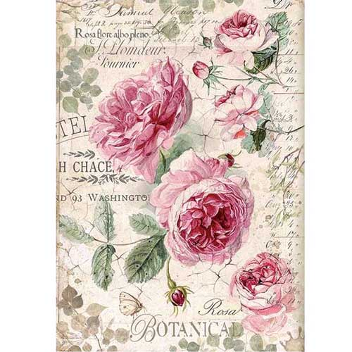 Scrapbook Sheet Painted white roses Rice Paper for Decoupage