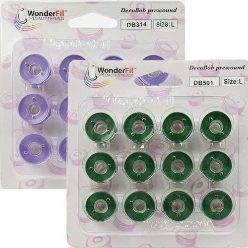WonderFil Size L Dark Green Specialty Threads Pre-Wound Bobbins DecoBob