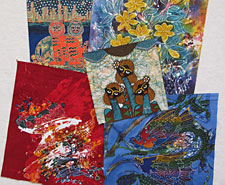Handpainted panels from a variety of talented batik artists